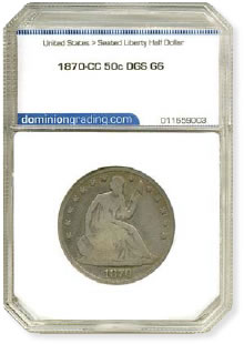1870-CC Seated Liberty Half Dollar DGS G6