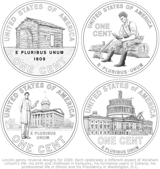 Lincoln Penny Design Images for 2009 Circulating Cents