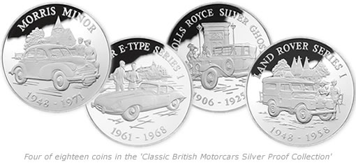 Four of the eighteen coins in the 'Classic British Motorcars Silver Proof Collection'