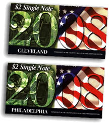 2008 Cleveland and Philadelphia $2 Collector Notes