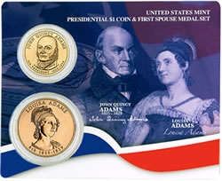 John Quincy Adams Presidential $1 Coin and First Spouse Medal Set