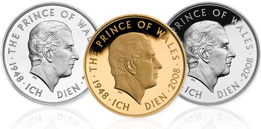 Royal Mint £5 Coins in Silver, Gold and Nickel Celebrate Prince Charles' 60th Birthday