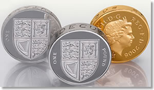 2008 UK Royal Shield of Arms £1 Gold, Silver and Piedfort Proof Coin