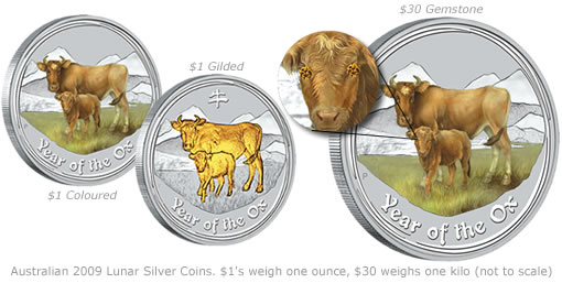 Australian 2009 Lunar (Year of the Ox) Silver Coins