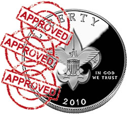 Symbolized Boy Scout coin with approved stamps