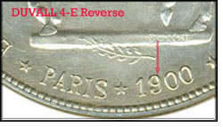 1900 $1 Lafayette Duvall 4-E Variety, reverse and closeup