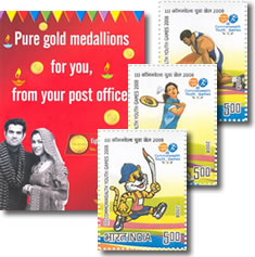 India Post Office Gold Coins Brochure and Stamps
