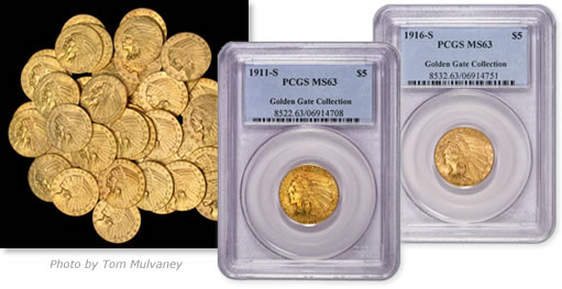 Indian Head $5 gold pieces from the Golden Gate Collection Hoard