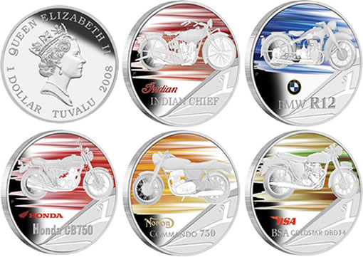 Motorbikes Five-Coin Silver Proof Coins from The Perth Mint