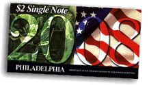 2008 Philadelphia First Day $2 Single Note Packaging