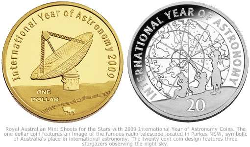 2009 $1 and 20 Cent Proof International Year of Astronomy Coins