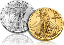 American Eagle silver and gold coins