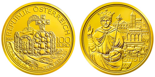 Austrian Mint Gold Coin Commemorative of Crown of Holy Roman Empire