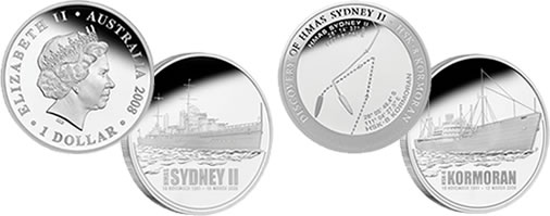 HMAS Sydney II Silver Coin and HSK Kormoran Medallion from Perth Mint of Australia