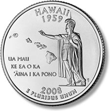 Hawaii State Quarter reverse, uncirculated