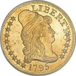 Reverse of rare 1795 $5 Small Eagle gold coin