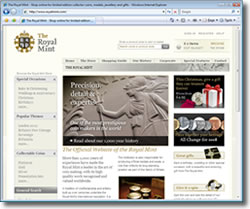 Screenshot of The Royal Mint website