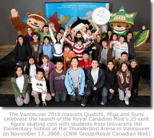 Vancouver 2010 mascots and kids celebrating Royal Canadian Mint 25-cent coin release