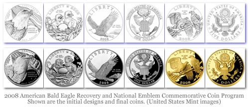 2008 American Bald Eagle Recovery and National Emblem Commemorative Coin Program Shown are the initial designs and final coins. (United States Mint images)