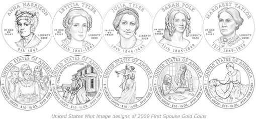 2009 First Spouse Gold Coin Designs