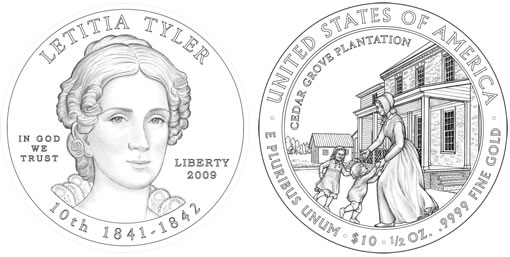 Letitia Christian Tyler First Spouse Gold Coin Design