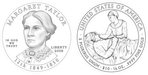 Margaret Mackall Smith Taylor First Spouse Gold Coin Design