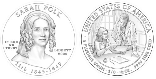 Sarah Childress Polk First Spouse Gold Coin Design