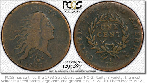 1793 Large Cent, Strawberry Leaf NC-3, Rarity-8