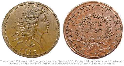 1793 Wreath U.S. large cent variety, Sheldon NC-5, Crosby 10-F