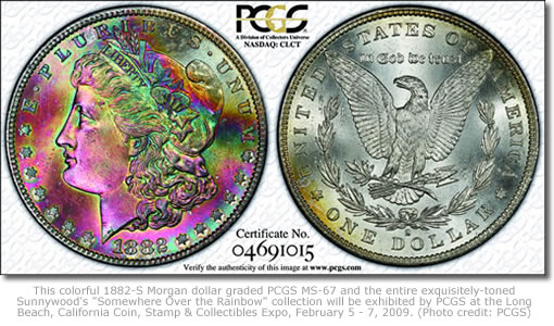 1882-S Morgan dollar graded PCGS MS-67