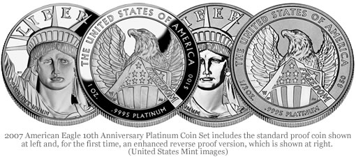 2007 American Eagle 10th Anniversary Platinum Coin Set