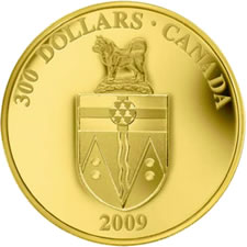 2009 $300 GOLD COIN – YUKON COAT OF ARMS