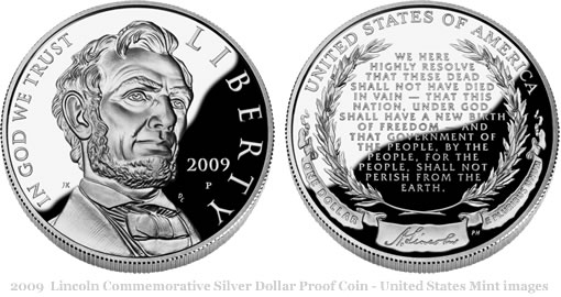 2009 Abraham Lincoln Commemorative Silver Dollar Proof Coin