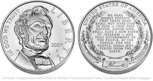 2009 Abraham Lincoln Commemorative Silver Dollar Uncirculated Coin