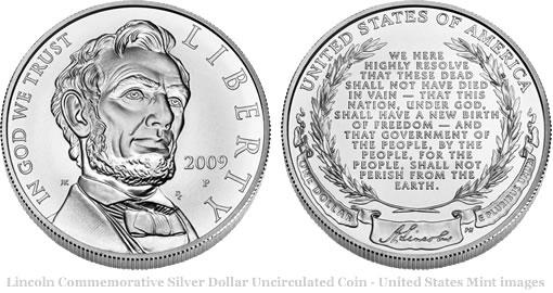2009 Abraham Lincoln Commemorative Silver Dollar Uncirculated Coin