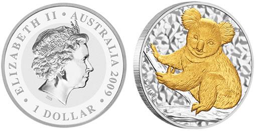 2009 Gilded Koala Silver Coin