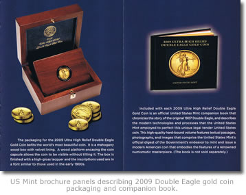 2009 Ultra High Relief Double Eagle Gold Coin packaging and companion book
