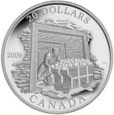 2009 FINE SILVER 20 DOLLAR COAL MINING TRADE COIN