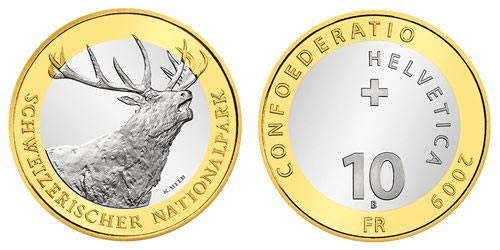 2009 Swiss National Park Red Deer Bimetallic Coin