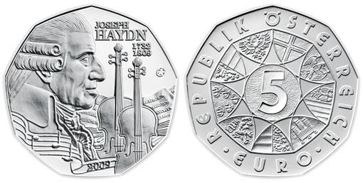 Austrian Commemorative Joseph Haydn Nine-Sided 5 Euro Coin