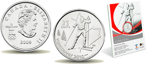 Royal Canadian Mint Vancouver 2010 commemorative 25-Cent Cross-Country Skiing Coins