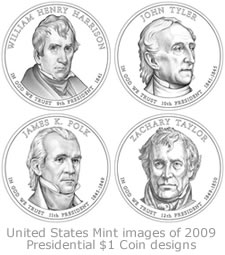 US Mint images of 2009 Presidential $1 Coin designs