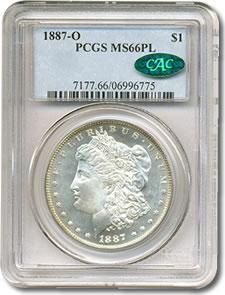 1887-O $1 PCGS/CAC MS66 PL