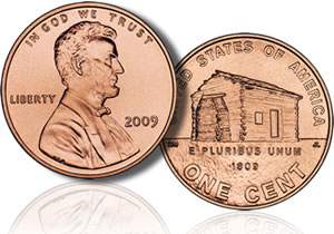 2009 Lincoln Penny, Depicting Birth and Childhood