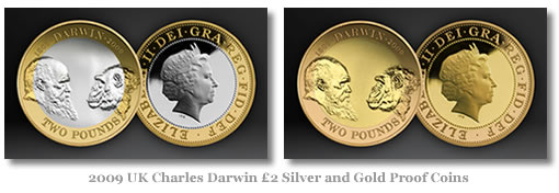 2009 UK Charles Darwin £2 Silver and Gold Proof Coins