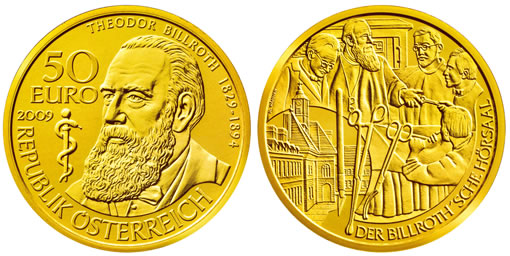 Austria 2009 50 Euro Theodor Physician Billroth Gold Coin