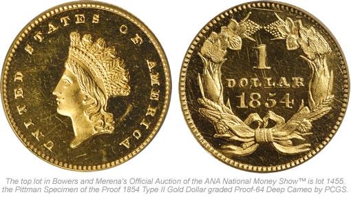Proof 1854 Type II Gold Dollar