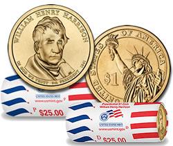 2009 William Henry Harrison Presidential $1 Coin Rolls