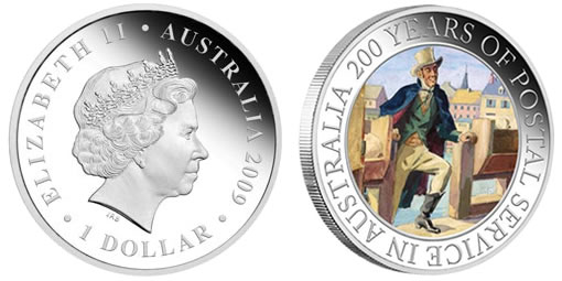 Australia Isaac Nichols 200 Postal Service Silver Proof Coin