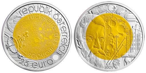 2009 Austria 25 Euro Silver-Niobium Galileo Coin